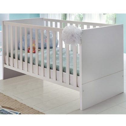 An Image of Avira Wooden Baby Bed In Alpine White And Oak