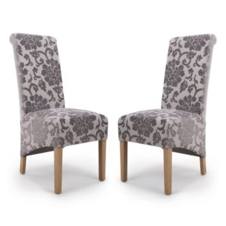 An Image of Krista Roll Back Baroque Velvet Mink Dining Chairs In Pair