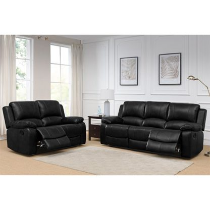 An Image of Andalusia Leather 2 Seater And 3 Seater Sofa Suite In Black