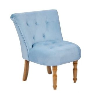 An Image of Alger Fabric Occasional Chair In Duck Blue With Wooden Legs