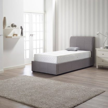 An Image of Newton Storage Single Bed In Grey Linen Fabric