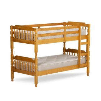 An Image of Colonial Wooden Small Single Bunk Bed In Honey