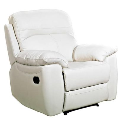 An Image of Aston Leather Recliner Sofa Chair In Ivory