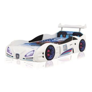 An Image of Buggati Veron Childrens Car Bed In White With Spoiler And LED