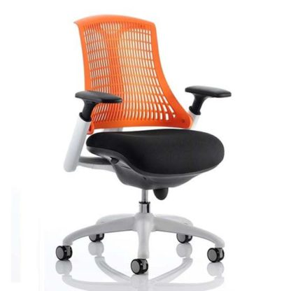 An Image of Flex Task Office Chair In White Frame With Orange Back