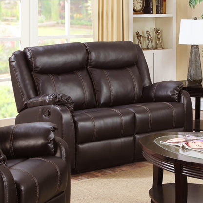 An Image of Leeds LeatherLux And PU Recliner 2 Seater Sofa In Espresso