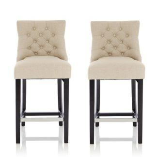 An Image of Calvia Bar Stools In Linen Fabric With Black Legs In A Pair