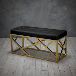An Image of Renata Fabric Dining Bench In Black With Gold Frame