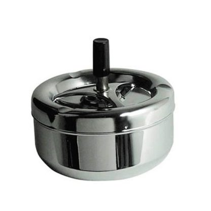 An Image of Mark Spinning Ashtray In Chrome With Black Handle