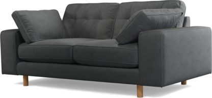 An Image of Content by Terence Conran Tobias, 2 Seater Sofa, Plush Shadow Grey Velvet, Light Wood Leg