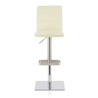 An Image of Aerith Bar Stool In Cream Faux Leather And Stainless Steel Base