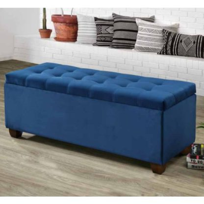 An Image of Lily Velvet Upholstered Storage Ottoman In Blue