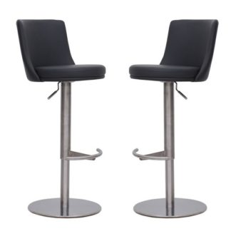 An Image of Fabio Bar Stools In Grey Faux Leather In A Pair