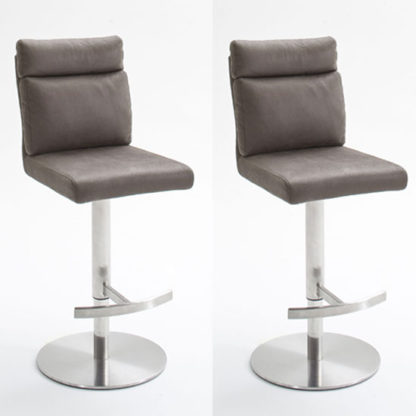 An Image of Rabea Brown Fabric Bar Stool In Pair With Stainless Steel Base