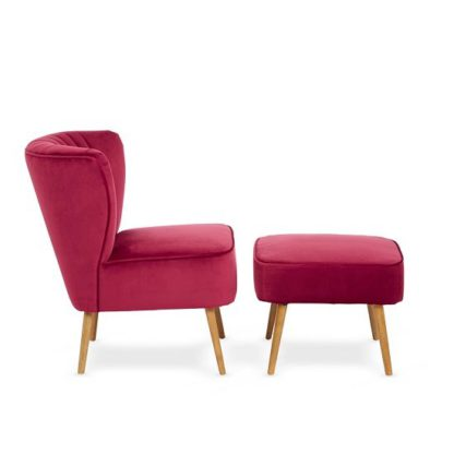 An Image of Samova Fabric Bedroom Chair And Foot Stool In Ruby Velvet