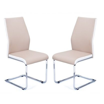 An Image of Marine Dining Chairs In Beige And White PU Leather In A Pair