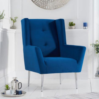 An Image of Brooklyn Velvet Upholstered Accent Chair In Blue