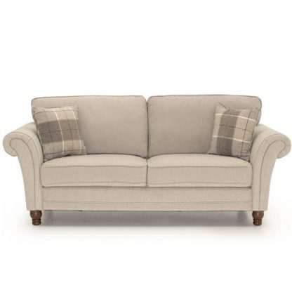 An Image of Colette Fabric 3 Seater Sofa In Pewter With Wooden Legs
