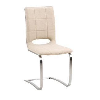 An Image of Tripoli Dining Chair In Light Brown Faux Leather With Steel Base