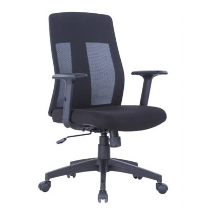 An Image of Bussell Mesh Office Chair In Black Finish With Fabric Seat