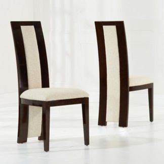 An Image of Allie Dining Chair In Brown Gloss And Cream Fabric In A Pair