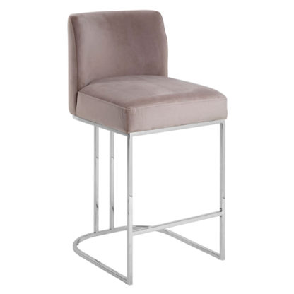 An Image of Markeb Fabric Bar Stool In Grey