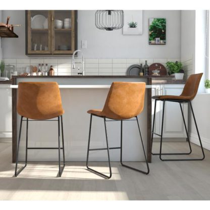 An Image of Bowden Upholstered Molded Counter Stool In Caramel Maple