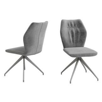 An Image of Sena Dark Grey Velvet Fabric Dining Chairs In Pair