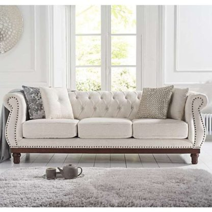 An Image of Morava Linen 3 Seater Sofa In Ivory