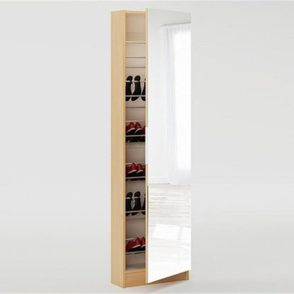 An Image of Steiner Mirrored Shoe Cabinet In Beech With 1 Door