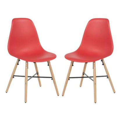 An Image of Arturo Red Bistro Chair In Pair With Oak Wooden Legs