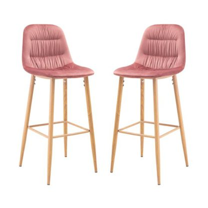 An Image of Harper Pink Finish Bar Stool In Pair