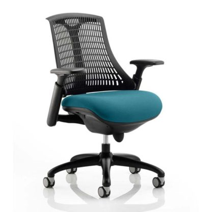 An Image of Flex Task Black Back Office Chair With Maringa Teal Seat