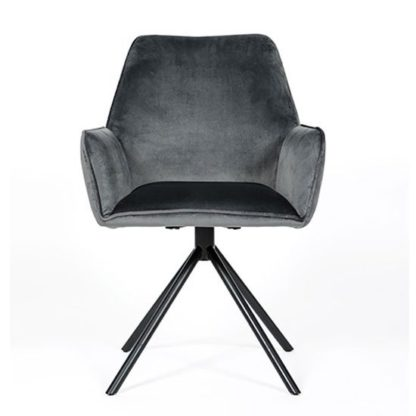 An Image of Uno Velvet Fabric Dining Chair In Grey