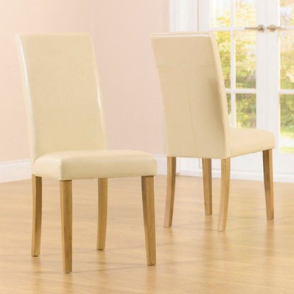 An Image of Cepheus Cream Faux Leather Dining Chairs In Pair
