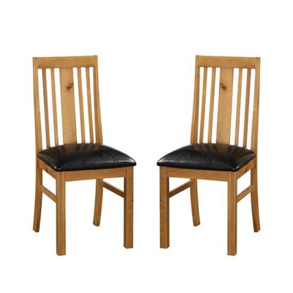 An Image of Acorn Light Oak Wooden Dining Chairs In Pair