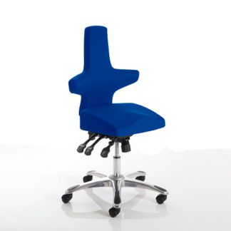 An Image of Stacy Home Office Chair In Blue With Chrome Base