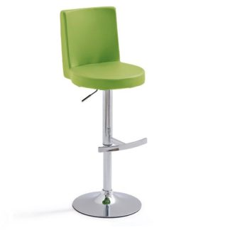An Image of Twist Bar Stool Green Faux Leather With Round Chrome Base