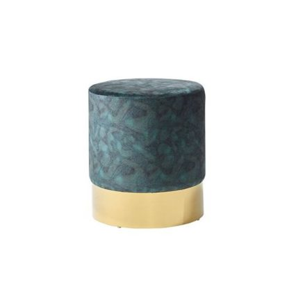 An Image of Aix Stool In Peacock Blue Velvet And Gold Plated Stainless Steel