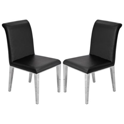 An Image of Kirkland Black Leather Dining Chairs In Pair With Chrome Legs