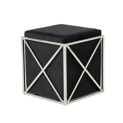An Image of Farran Stool In Black Velvet With Polished Stainless Steel