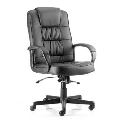 An Image of Moore Leather Executive Office Chair In Black With Arms