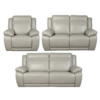 An Image of Baxter Recliner Sofa Suite In Light Grey Leather Air Fabric