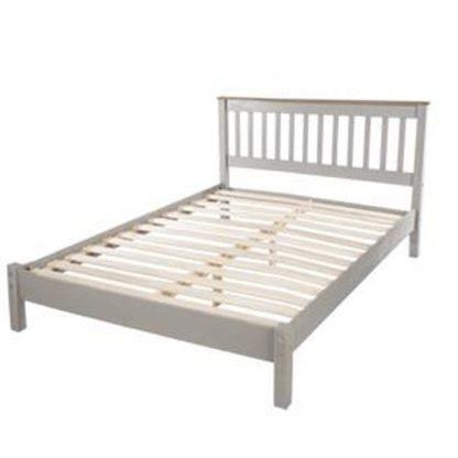 An Image of Corina Double Size Slatted Bed In Grey Washed Wax Finish