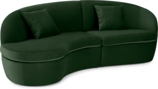An Image of Reisa Left Hand Facing Chaise End Sofa, Pine Green Velvet
