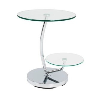 An Image of Barca End Table In Clear Glass Tops With Chrome Base
