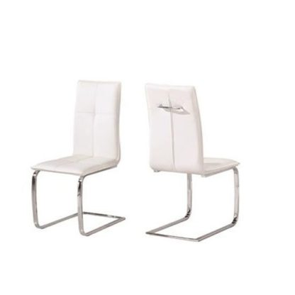An Image of Foster Dining Chair In White Faux Leather In A Pair
