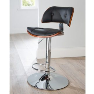 An Image of Aylesbury Bar Stool In Black PU And Walnut With Chrome Base