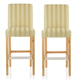 An Image of Alden Bar Stools In Oatmeal Fabric And Oak Legs In A Pair
