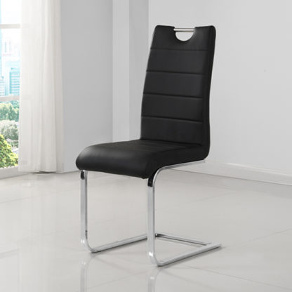 An Image of Petra Faux Leather Dining Chair In Black